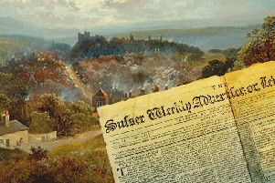 A copy of 'The Sussex Advertiser' of 1799 is superimposed on a painting depicting Lewes from the top of Chapel Hill, site of the town's golf course. It is the work of Victorian era British-born artist Edmund H. Niemann. The 'Advertiser' was the first-ever Sussex newspaper and by 1799 had incorprated the rival 'Lewes Journal'. SUS-190219-104354001