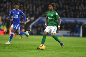 Gaetan Bong on the ball against Leicester City. Picture by PW Sporting Photography.