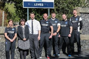 Albion in the Community and HM Prison Lewes: (left to right): Rebecca Collins (AITC further education manager), Hannah Lane (Governor HM Prison Lewes), Richard Silvester (head of reducing reoffending HM Prison Lewes), Scott Chapman (physical education instructor HM Prison Lewes), Nick Carter (physical education officer HM Prison Lewes), Dave Foot (physical education instructor HM Prison Lewes) and Mark Slide (Albion in the Community engagement officer).