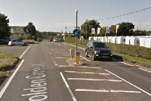 Cathlene Catt's Mini Cooper collided with a traffic island on the A22 at Golden Cross. Picture: Google Street View