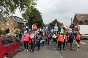 Protesters on the march in Peacehaven