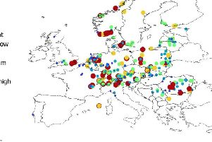 Map shows the populations of Lyme disease-carrying ticks across Europe.