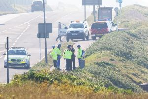 Police and HM Coastguard at the scene this morning
