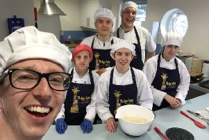 Sam with the team at JubyLee Bakes, Horsham