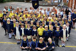 Staff and pupils at St Giles Church of England Primary School in Horsted Keynes. Photograph: Steve Robards / SR1912183