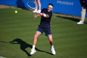 EASTBOURNE, ENGLAND - JUNE 26: Cameron Norrie of Great Britain in action during his first round match against Horacio Zeballos of Argentina during day two of the Aegon International Eastbourne on June 26, 2017 in Eastbourne, England. (Photo by Charlie Crowhurst/Getty Images for LTA) SUS-191206-173731002