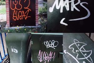 Some of the graffiti that has appeared in Heathfield. Photo: Wealden Police/Twitter