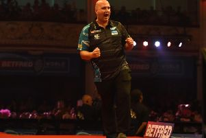 Rob Cross celebrates. Picture by Chris Dean/PDC