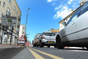 Queuing traffic in Seaside Road, Eastbourne (Pic by Jon Rigby)