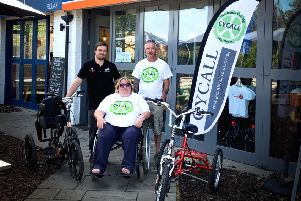 Martine and Rob Walters from Worthing-based CYCALL at The Charity Bike Shop in Ditchling