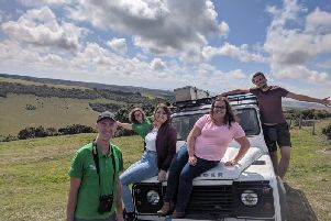 South Downs Ranger experience: reporter Ginny Sanderson (centre left) with Tim Squire and squad from SDNPA