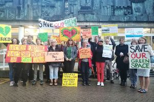 DDNV protesters outside of County Hall