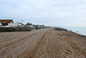 Pevensey Bay beach looking towards Bexhill and Hastings