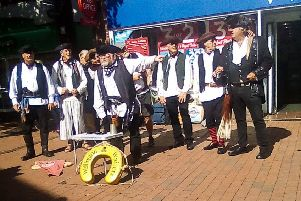 The Wailers perform Sea Shanties for the public in Lewes
