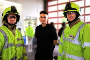 Fire and rescue staff in uniform on Saturday, photo by Ron Hill