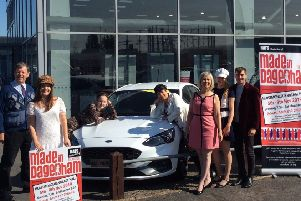 Made in Dagenham cast members with staff at Birchwood Ford