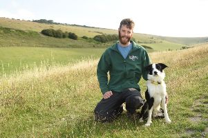 Tom Parry, grazing Manager for the Wildlife Trust and Sheep-dog-in training Reg