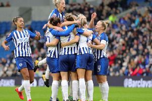 Albion players celebrate scoring Kayleigh Green's first goal (picture: Paul Hazlewood @bhafc)