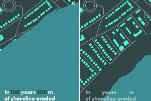 Pevensey Bay in 100 years (left) and now (right) - according to a new study