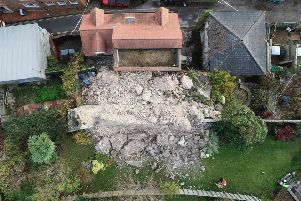 Part of Lewes Castle wall which collapsed. Picture by Eddie Mitchell