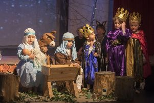 A familiar scene as the cast perform during Lewes Old Grammar School's Winter's Tale production, photo by Peter Whyte