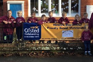 Delighted staff and children at Newick Pre-School