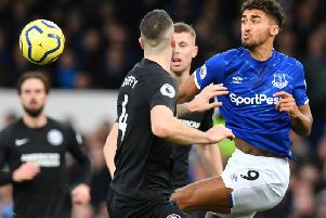 Everton's Dominic Calvert-Lewin enjoyed his tussle with Brighton defender Shane Duffy