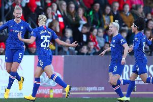 Sophie Ingle celebrates with Jonna Andersson after scoring his team's third goal during the Barclays FA Women's Super League match between Arsenal and Chelsea at Meadow Park (Photo by Catherine Ivill/Getty Images)