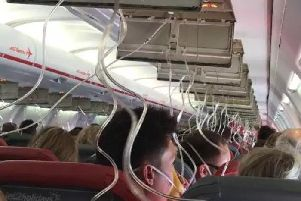 The scene from inside the plane