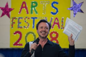 Haddenham Junior School Arts Festival 2018 - author Steve Cole announces winners of 500 word story competition