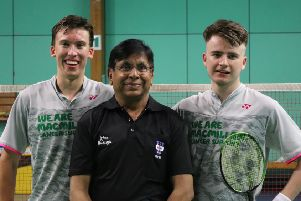 Max Spokes and Rohan Smith with umpire Irfan Mustafa