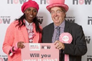 MP John Howell supports wear it pink with Donna Fraser.