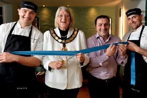 Relaunch at Prezzo with Mayor of Thame, Ann Midwinter cutting the ribbon with chef Pavel Masztalewicz, general manager Panos Tiligadas and chef Damian Wrotniak.