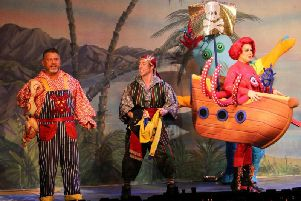 Peter Pan press shot - from left Smee, a member of the pirate crew and Mrs Smee