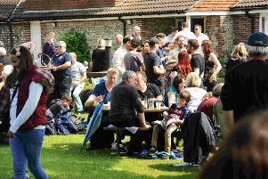 People enjoying a beer festival