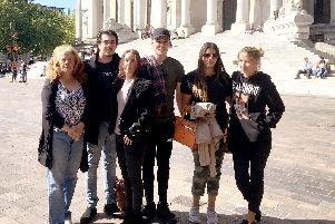 Curtis Bull inquest''Caption: Family and friends of Curtis Bull after the inquest. (Pictured left to right) Amanda Bull, Harrison Layland, Kate Edwards, Henry Layland, Jade Boswell and Emily Bull