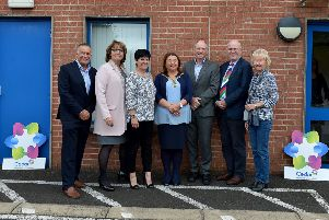 Pictured at the 10th anniversary celebrations of Cedar in Derry are, from left, Stephen Mathews, Chief Executive, Cedar Foundation, Breda Doherty, manager, Eileen Thompson, Deputy Chief Executive, Mayor Michaela Boyle, Prof.  Maurice Mulvena, Executive Committee, Stephen Woods and Dr. Nan Hill, Executive Committee. Photo: nwpresspics