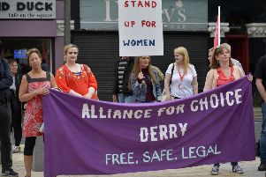 Pro Choice supporters, from Alliance for Choice Derry, at a previous rally in Derry.  DER2218G024