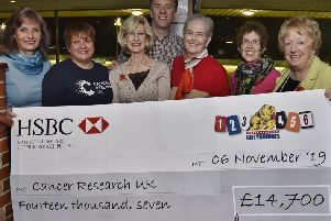 Jackie Perkins, Jo Marriott, Maggie Perkins, Richard Perkins, Judith Wojtowicz and Audrey Scotney  at pres of cheque for �14,700 from the Peterborough Greyhound Stadium to Cancer Research UK EMN-190711-122948009