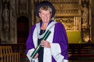 Dr Vivienne Cox from Hemel Hempstead receives her honorary award of Doctor of Science.
