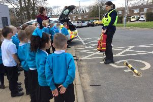 PCSO Lester and PCSO Brooks spoke to children at Jupiter Community Free School.Photo from Dacorum Police Facebook Page