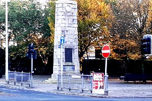 SF poster concerning mental health affixed to a railing next to the Omagh's cenotaph. Chris Smyth, UUP councillor, Omagh, took this image on October 27