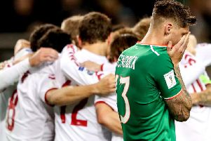 Jeff Hendrick is devastated as Denmark players celebrate their success