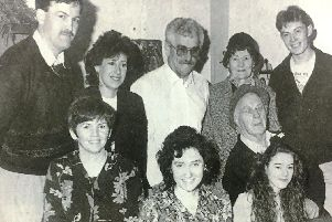 The cast of the Edendork Players who performed 'Wedding Fever' at Edendork Hall in 1994