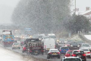 Heavy traffic on the M1 motorway heading into Belfast outside Lisburn yesterday. ''Picture by Jonathan Porter/PressEye