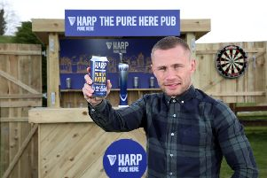 Carl Frampton cannot wait to deliver the bespoke garden pub! Credit �Press Eye/Darren Kidd