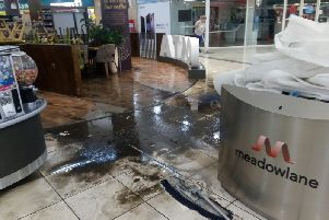 Water flowed in from the ground floor car park in to the shopping mall