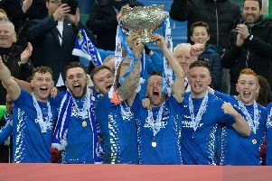 Dungannon Swifts celebrating last season's Bet McLean League Cup success.
