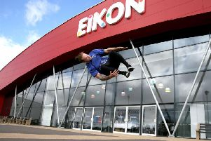 Paul Allen from Jump NI performs outside the Eikon Exhibition centre to launch the Calor N.I Leisure show which will take place at the Lisburn venue on Nov 2-4. The show is Ireland's largest exhibition of caravans, motorhomes and camper vans.
