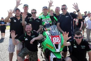 Derek McGee celebrates a five-timer at the inaugural Enniskillen Road Races in June.